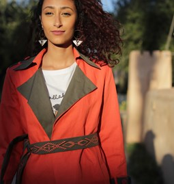 Coral and khaki trench coat