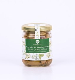Green olives with aromatic plants 180 gr