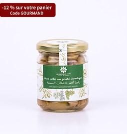 Olives vertes aux plantes aromatiques 180 gr