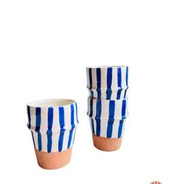 Blue striped beldi glass