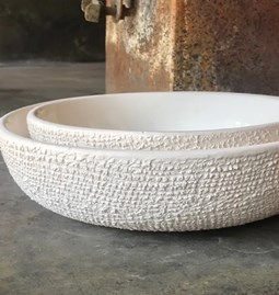 White enameled bowl ceramic exterior