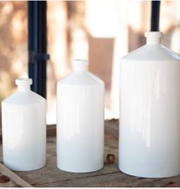Bouteilles céramique blanche