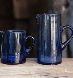 Blue glass carafe