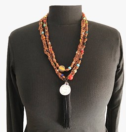 Sautoir en perles de verre - Cognac