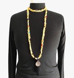 Sautoir /collier en perles de verre - Bouton d'or