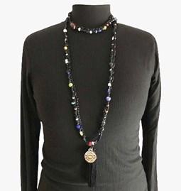 Sautoir/collier en perles de verre - noir