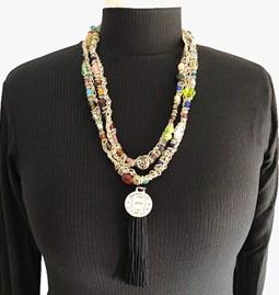 Sautoir /collier en perles de verre - or