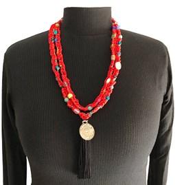 Sautoir/Collier en perles de verre - rouge
