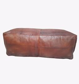 Rectangular leather pouffe