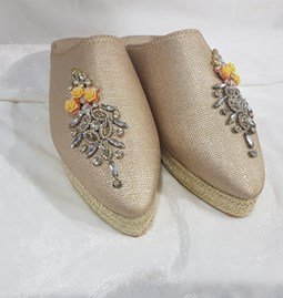 Beaded leather slippers