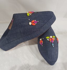 Beaded denim slippers