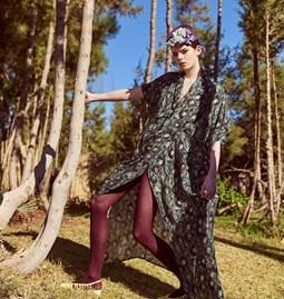 Nadia Kimono Dress Vivid Green Print