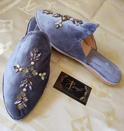 Lavender velvet mules leather interior