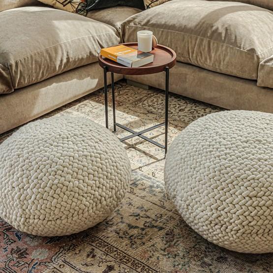 Pouf en laine tresée  - 80 cm Ø  - Design : AFRIKAN LAGOM
