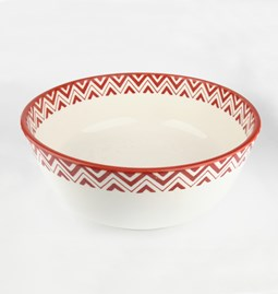 Large Salad Bowl with red patterns