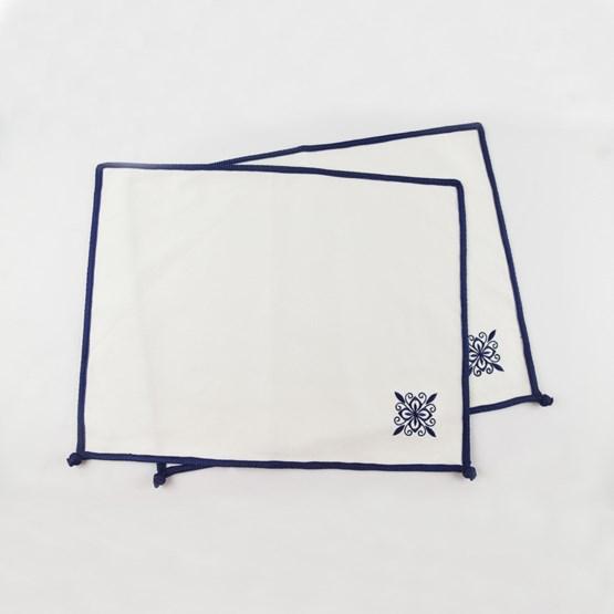 Lot de 2 Sets en coton blanc - Design : ALCHIMIES