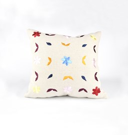Embroidered linen cushion