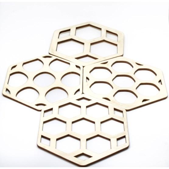 Sous verre en Bois - Hexagon - Design : BOLTEN DESIGN