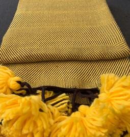 Plaid 100 % laine - jaune & noir