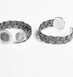 Coins Braided Bangle Bracelet