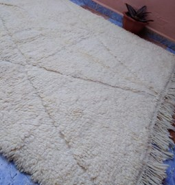 Pure white wool rug