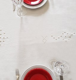 Off-white linen tablecloth