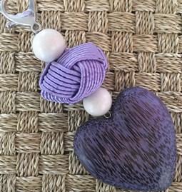 porte clefs/bijoux de sacs big hart violet