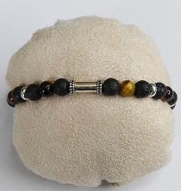 Bracelet pierre de lave et oeil de tigre - hommes