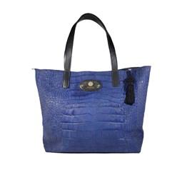 Bag leather effect crocodile blue