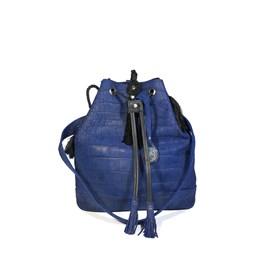 Leather Drawstring bag / croco effect
