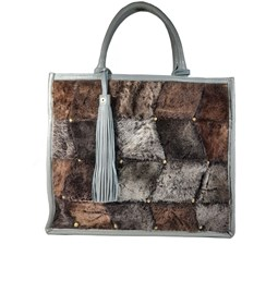 Larger Tote bag / fur and leather