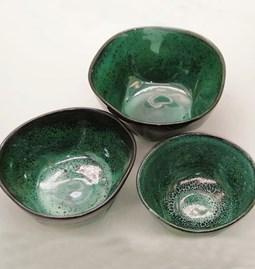 "Set of 3 bowls ""marbled green"""