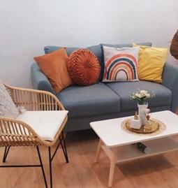 Chaise en rotin naturel avec coussin imperméable