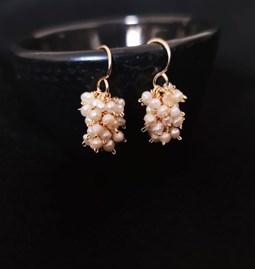 Boucles d'oreilles grappes perles douces