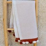 Tapis de bain moucheté blanc/camel 2