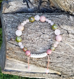 """Bracelet """"Quartz rose, unakite & rhodonite"""