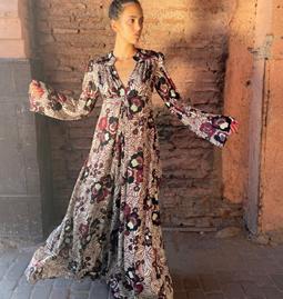 Robe Andrea imprimée bordeaux