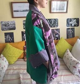 Kimono ''Les violettes vertes''