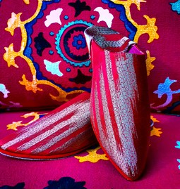 Red and gold Moroccan Slippers