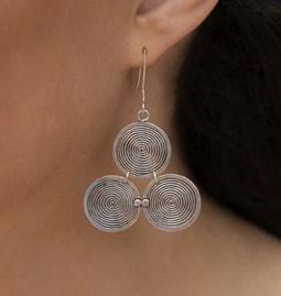 Boucles d'oreilles grey triple spirals