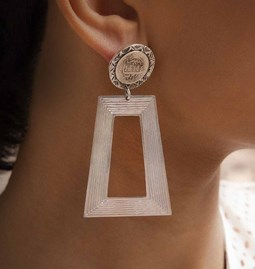 Earrings trapezoid coins