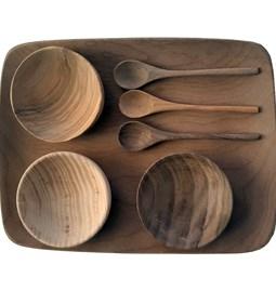 Rectangle walnut wood plat with mini bowls